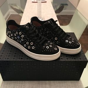 Alaia Black Grommet Covered Sneakers Size 37